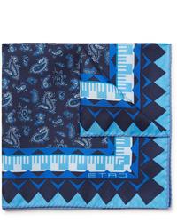 Fazzoletto da taschino con stampa cachemire blu scuro di Etro