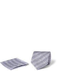Fazzoletto da taschino di cotone scozzese grigio