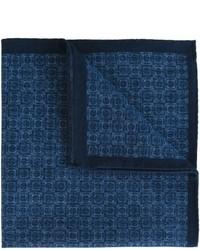 Fazzoletto da taschino di cotone stampato blu scuro di Eleventy
