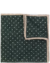 Fazzoletto da taschino di lana a pois verde scuro di Eleventy
