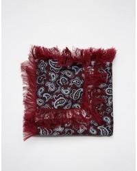 Fazzoletto da taschino di lana con stampa cachemire bordeaux di Asos