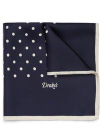 Fazzoletto da taschino di seta a pois blu scuro di Drakes