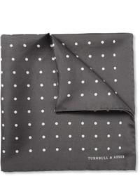 Fazzoletto da taschino di seta a pois grigio scuro di Turnbull & Asser