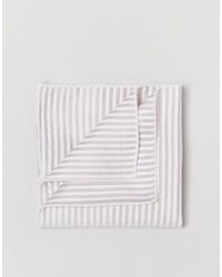 Fazzoletto da taschino di seta a righe orizzontali beige di Selected