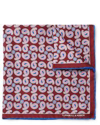 Fazzoletto da taschino di seta con stampa cachemire bordeaux di Turnbull & Asser