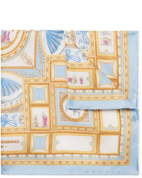 Fazzoletto da taschino di seta stampato azzurro di Rubinacci