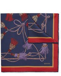 Fazzoletto da taschino di seta stampato blu scuro di Gucci