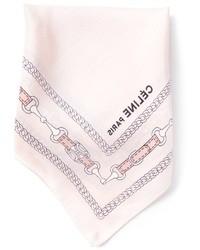 Fazzoletto da taschino di seta stampato rosa di Celine