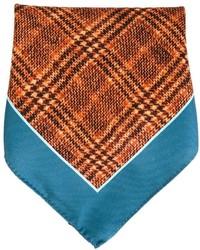 Fazzoletto da taschino stampato arancione di Kiton