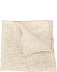 Fazzoletto da taschino stampato beige di Brunello Cucinelli