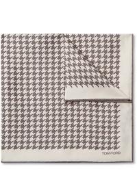 Fazzoletto da taschino stampato beige di Tom Ford