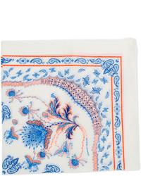 Fazzoletto da taschino stampato bianco e blu