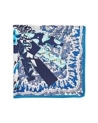 Fazzoletto da taschino stampato bianco e blu scuro