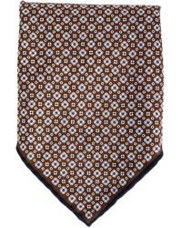 Fazzoletto da taschino stampato marrone scuro di Brunello Cucinelli