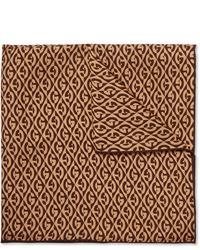 Fazzoletto da taschino stampato marrone di Gucci