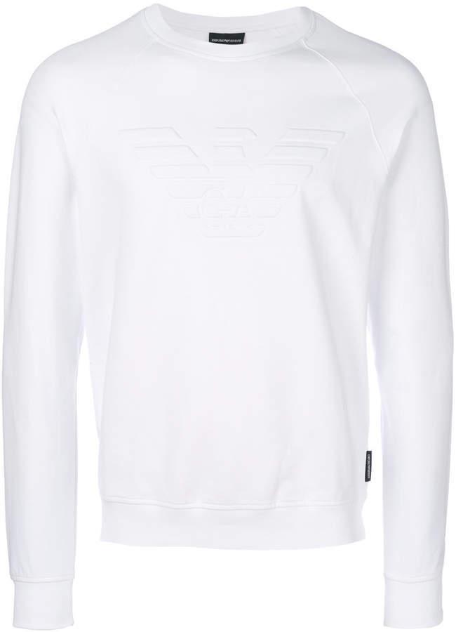 Shop Ea7 Emporio Armani white Felpa Sweatshirt PJ05Z 3YPM83