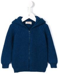 Felpa con cappuccio lavorata a maglia blu scuro