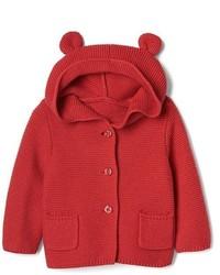 Felpa con cappuccio lavorata a maglia rossa