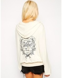 Felpa con cappuccio stampata bianca e nera di Wildfox Couture