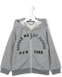 Felpa con cappuccio stampata grigia di Little Marc Jacobs