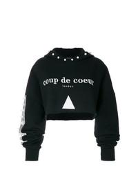 Felpa con cappuccio stampata nera e bianca di Coup De Coeur