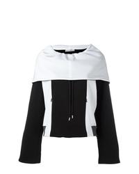Felpa con cappuccio stampata nera e bianca di Paco Rabanne