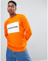 Felpa stampata arancione di Calvin Klein Jeans