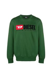 Felpa stampata verde scuro di Diesel