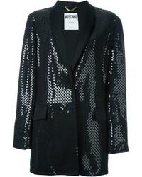 Giacca con paillettes decorata nera di Moschino