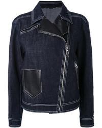 Giacca da moto di jeans blu scuro di Versace