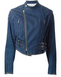 Giacca da moto di jeans blu di Christian Dior