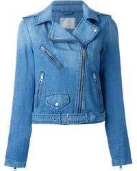 Giacca da moto di jeans blu di Diesel