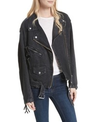 Giacca da moto di jeans nera