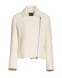 Giacca da moto di lana bianca