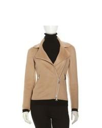 Giacca da moto di lana marrone chiaro