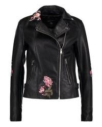 Giacca da moto in pelle a fiori nera di Dorothy Perkins