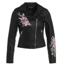 Giacca da moto in pelle a fiori nera di Miss Selfridge