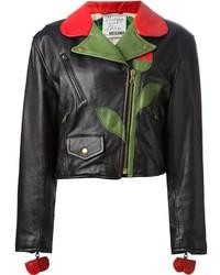 Giacca da moto in pelle a fiori nera di Moschino