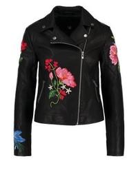 Giacca da moto in pelle a fiori nera di New Look