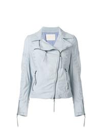 timeless design 8f2fa 84107 Giacche in pelle azzurre da donna | Moda donna | Lookastic