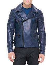 Giacca da moto in pelle blu scuro