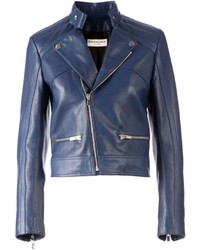 Giacca da moto in pelle blu scuro di Balenciaga
