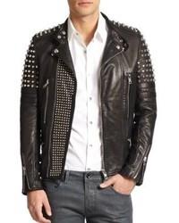 reputable site 26831 db70a Giacche da moto in pelle con borchie nere da uomo | Moda ...