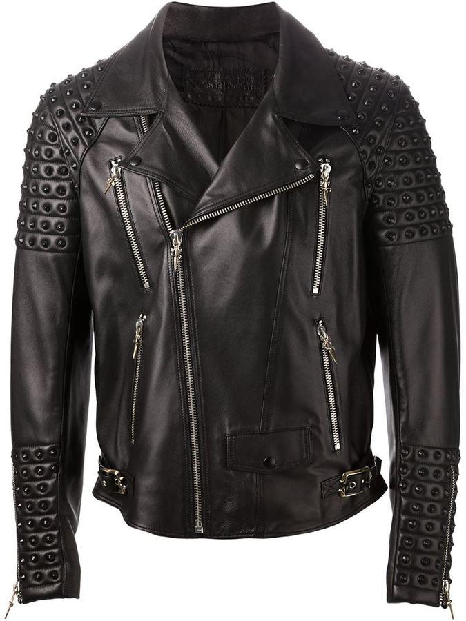 8741d32bac Giacca da moto in pelle con borchie nera
