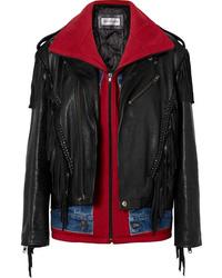 Giacca da moto in pelle con frange nera di Balenciaga