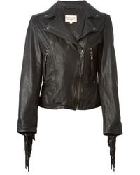 Giacca da moto in pelle con frange nera di P.A.R.O.S.H.