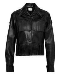 Giacca da moto in pelle con frange nera di Stella McCartney