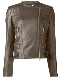 Giacca da moto in pelle marrone scuro