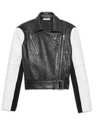 Giacca da moto in pelle nera e bianca