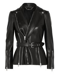 Giacca da moto in pelle nera di Alexander McQueen